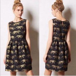 Anthropologie Black & Gold Panther Dress